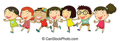 Children - Illustration of many children holding hands
