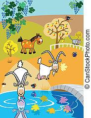 children illustration with goats