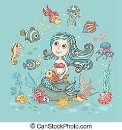 Children illustration with mermaid on green - Children...