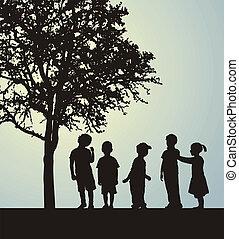 Children in a confidential interview under a tree