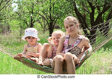 children in a hammock