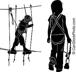 children in adventure park rope