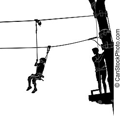 children in adventure park rope ladder