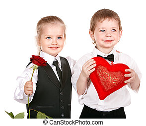 Children in business suit with rose.