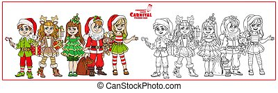 Children in carnival costumes christmas characters color and outlined for coloring page