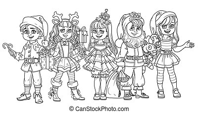 Children in carnival costumes christmas characters outlined for coloring page