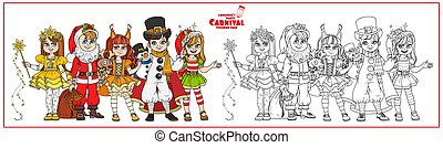 Children in carnival costumes Christmas characters Santa Claus,Squirrel, Christmas night, snowman, elf color and outlined for coloring page