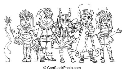 Children in carnival costumes Christmas characters Santa Claus,Squirrel, Christmas night, snowman, elf outlined for coloring page
