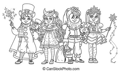 Children in carnival costumes Christmas characters Santa Claus,Star, Christmas night, snowman outlined for coloring page