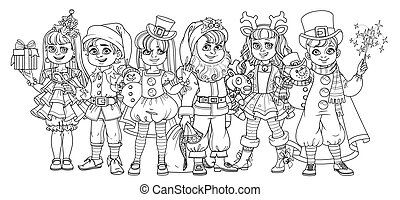 Children in carnival costumes of christmas characters color and outlined for coloring page