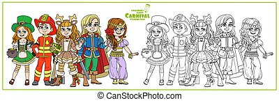 Children in carnival costumes of the Leprechaun, handsome prince, deer, oriental dancer, fireman color and outlined for coloring page
