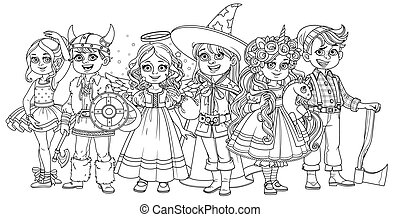 Children in carnival costumes of the unicorn, ballerina, wizard, viking, angel and lumberjack outlined for coloring page