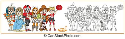 Children in carnival costumes princess, astronaut, prehistoric man, american football player, cowboy, cheerleader characters color and outlined for coloring page
