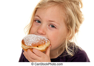Children in carnival with donuts. Carnival Donut