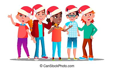 Children In Christmas Caps Singing Carol Vector. Illustration
