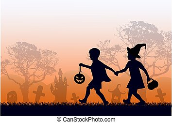 children in costumes are in a hurry for Halloween