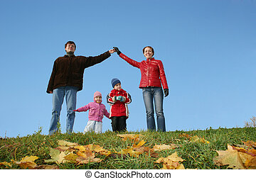 children in family house. autumn CLEAR sky
