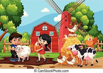 Children in farm scene with animals