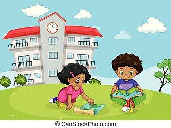 Children in front of building