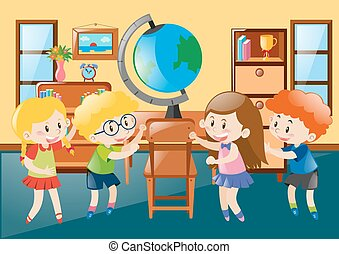 Children in geography classroom