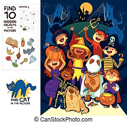 Children in halloween costumes. Find 10 hidden objects in the picture