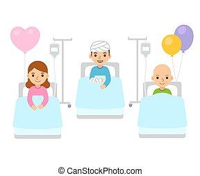 Children in hospital illustration - Sick children in...