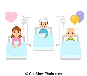 Children in hospital illustration - Sick children in...