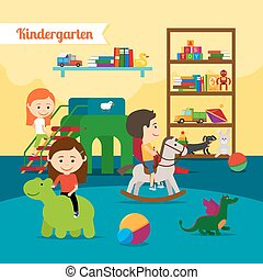 Children in Kindergarten - Kindergarten. Children playing in...