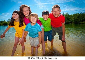 Children in lake