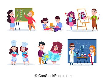 Children in lessons. School kids studying geography, chemistry, and math. Boys and girls read, draw and cook cartoon. Vector characters