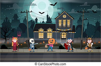 Trick-or-treating Halloween ritual - Children in monster ...