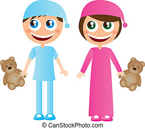 Children in pajamas with hat cartoons with teddy bear vector