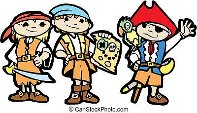 Children in Pirate Costumes - Children dress in pirate...