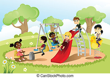 Children in playground - A vector illustration of a group of...