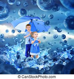 Children in Raining Blueberries with Umbrella