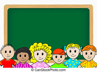 children in school - illustration of children in front a...