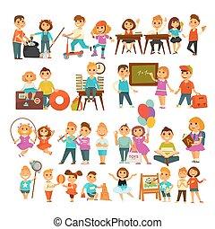 Children in school or kindergarten outdoor activity vector...