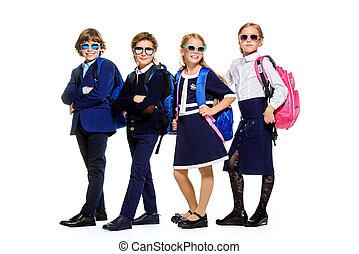 children in school uniform - Group of modern children posing...