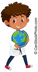 Children in scientist costume cartoon character isolated on white background