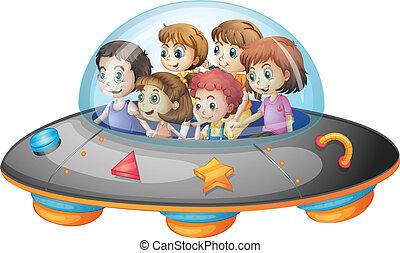 Children in spaceship - Illustration of many children on a...