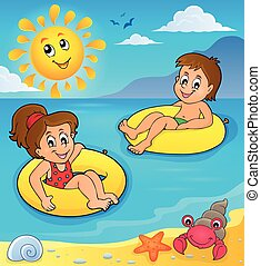 Children in swim rings