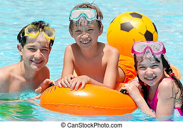 Children in swimming pool - Three siblings in swimming pool...