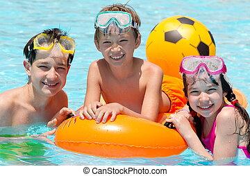 Children in swimming pool - Three siblings in swimming pool...