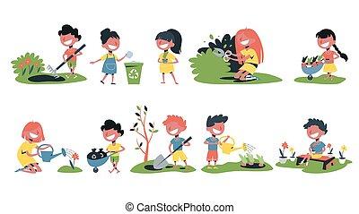 Children in the garden set. Collection of kids gardening