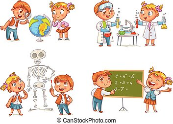 Children in the lesson of geography, chemistry, mathematics and biology