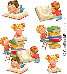 Children in the library - Children reading books in the...