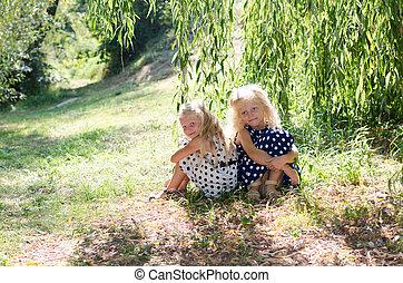children in the meadow