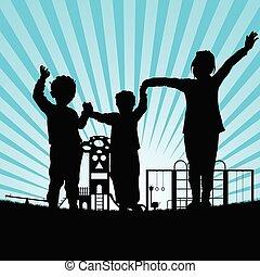 children in the park silhouette illustraton