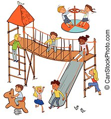 Children in the playground. Funny cartoon character