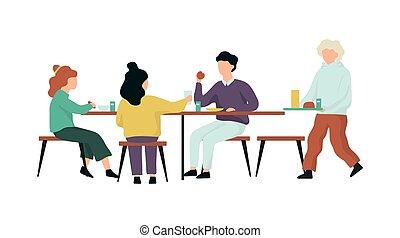 Children in the school canteen. People eating